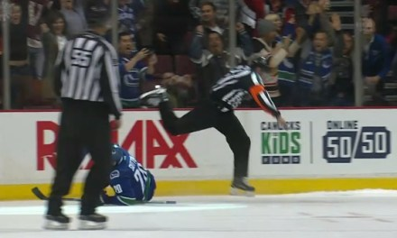 Look Out! Canucks' Sutter Takes Out Ref Chris Lee in Shootout