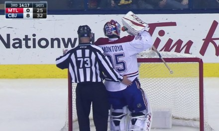 Habs Goaltender Montoya Gets Support from Linesman Vaughan Rody