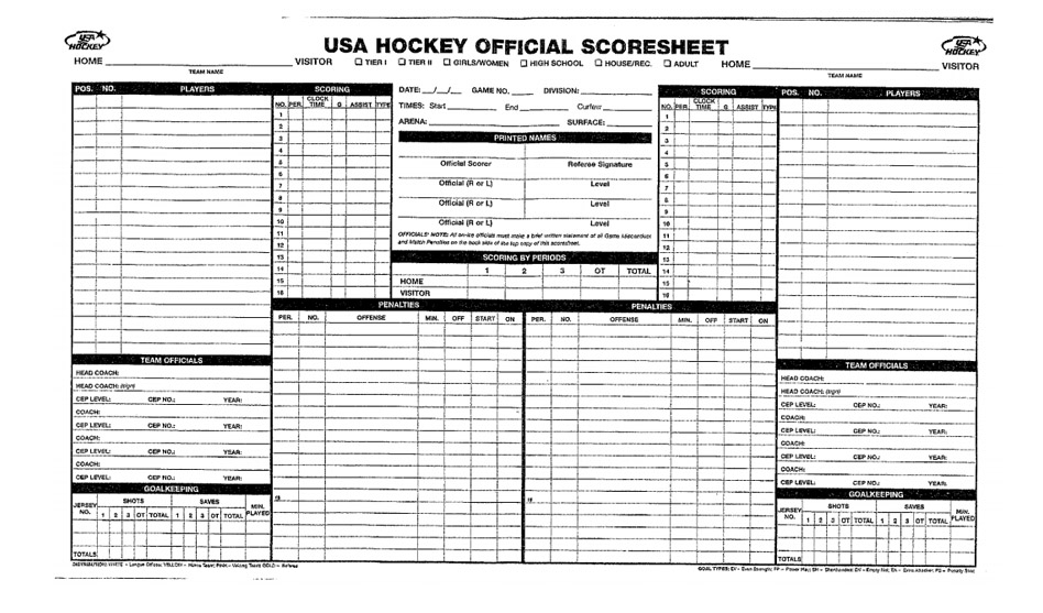 hockey score sheet Officially Speaking: The All-Important Score Sheet