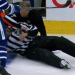 Linesman Steve Miller Leaves Game After Being Hit By Puck