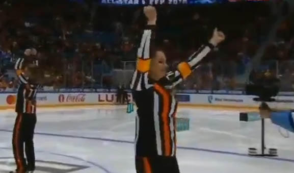 KHL Dancing Referees at All Star Skills Competition