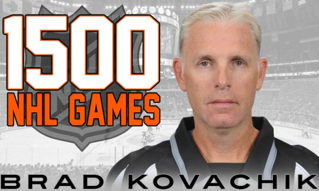 Linesman Brad Kovachik Honored on 1500 Games