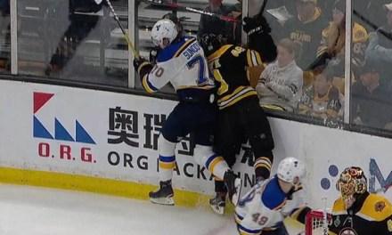 Blues' Sundqvist Suspended for Hit on Bruins' Grzelcyk