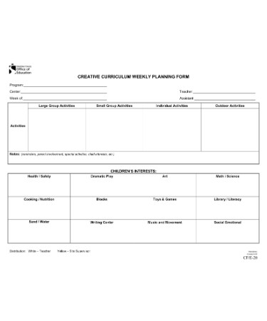 Creative Curriculum Lesson Plan Template Scouting Web
