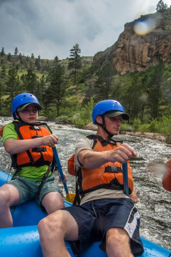 Scouts from PA enjoy a whitewater rafting trip on the Cache La Poudre River, during their adventure trip to Colorado