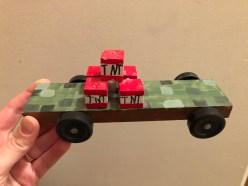 A Minecraft TNT car designed and made by Caleb H, age 7, Wichita, Kansas. It won Best of Show in his pack in 2018!