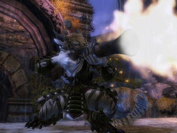 Charr Guild Wars 2 Engineer firing a rifle