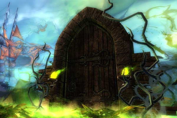 A haunted door in the Guild Wars 2 halloween event