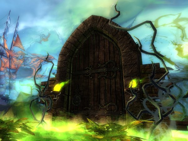 A haunted door in the Guild Wars 2 halloween event