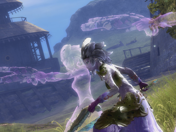 Sylvari mesmer and two purple clones in Guild Wars 2