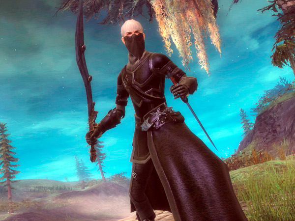 Guild Wars 2 thief wearing all black and a face mask