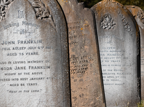 Photograph of old weathered tombstones
