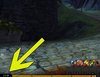 Guild Wars 2 interface with arrow pointing to your real and effective level in a scaled map