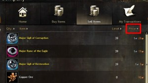 """Guild Wars 2 Trading Post panel with the """"sort by price"""" button highlighted"""