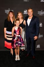NEW YORK, NY - OCTOBER 03: Actress Teagan Croft (Back Row Center) and family attend DC UNIVERSE's Titans World Premiere on October 3, 2018 in New York City. (Photo by Dave Kotinsky/Getty Images for DC UNIVERSE)