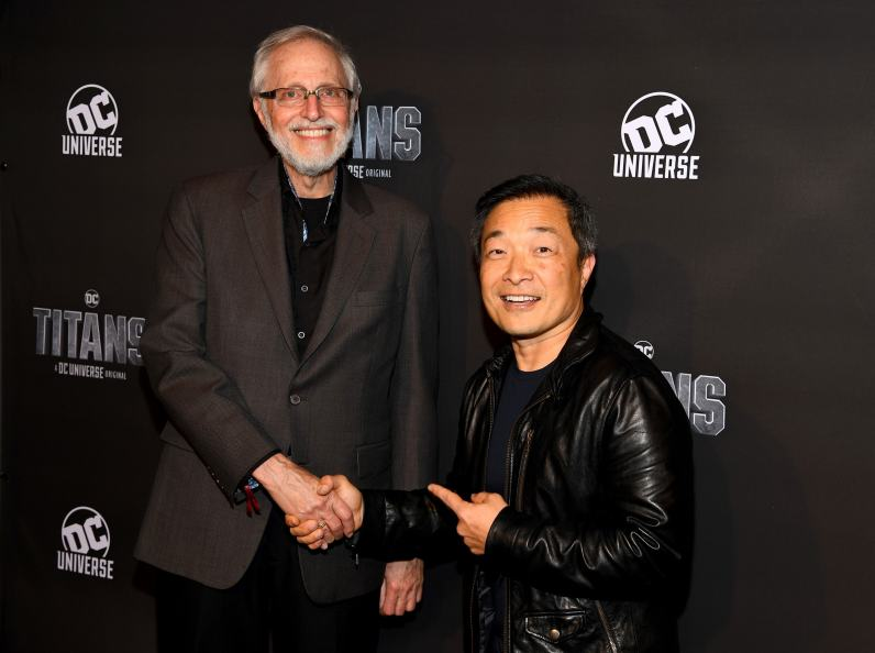 NEW YORK, NY - OCTOBER 03: Titans Writer Marv Wolfman (L) and Chief Creative Officer and Publisher for DC, Jim Lee (R) attend DC UNIVERSE's Titans World Premiere on October 3, 2018 in New York City. (Photo by Dave Kotinsky/Getty Images for DC UNIVERSE)