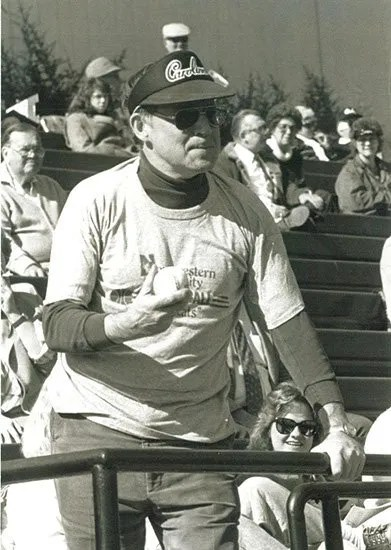 Circa 1990, Krell throwing out the first pitch of a baseball game between Northwestern and South Carolina.