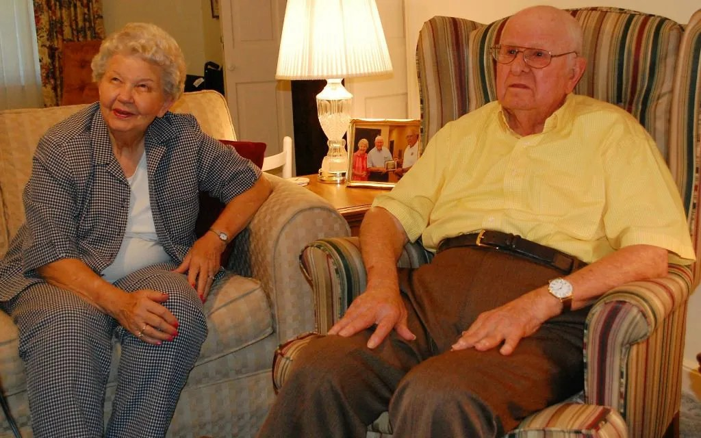 Betty (left) and Carl Kilgus (right) sit at their home in Bamberg