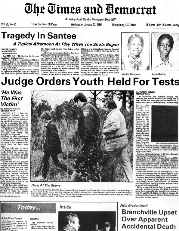 """Harter's story called """"Tragedy in Santee"""" was published in the Times and Democrat on January 23, 1980."""