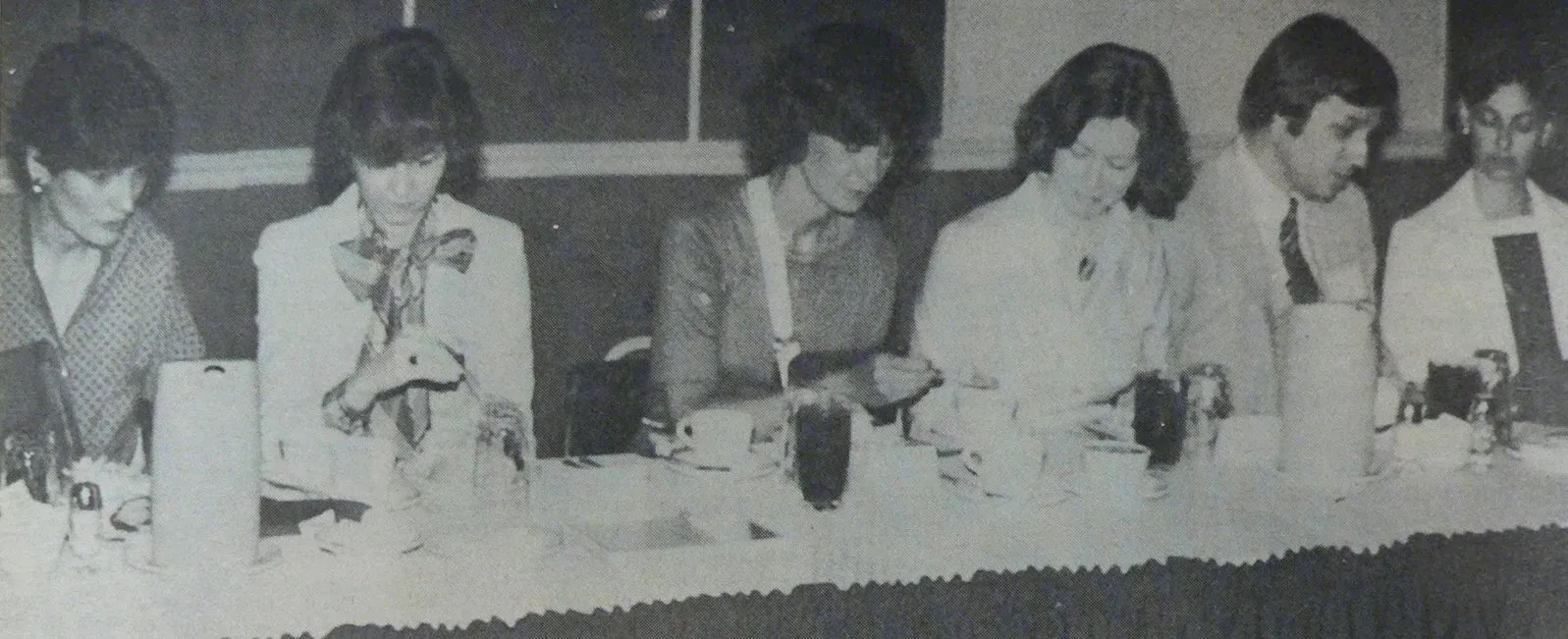 At the head table for the Women in Newspapers Seminar were, from left, Nancy Woodhull of Rochester, N.Y., Pat McNeely of USC School of Journalism, Mary Scott Derrick of Hilton Head island, Emily Cooper of Edgefield, Cyril Washer of Columbia, and Dottie Foster of Myrtle Beach.