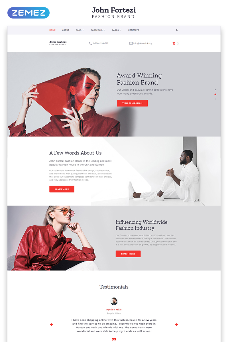 Template 57697 - Nova Fashion Responsive Website Template with Parallax