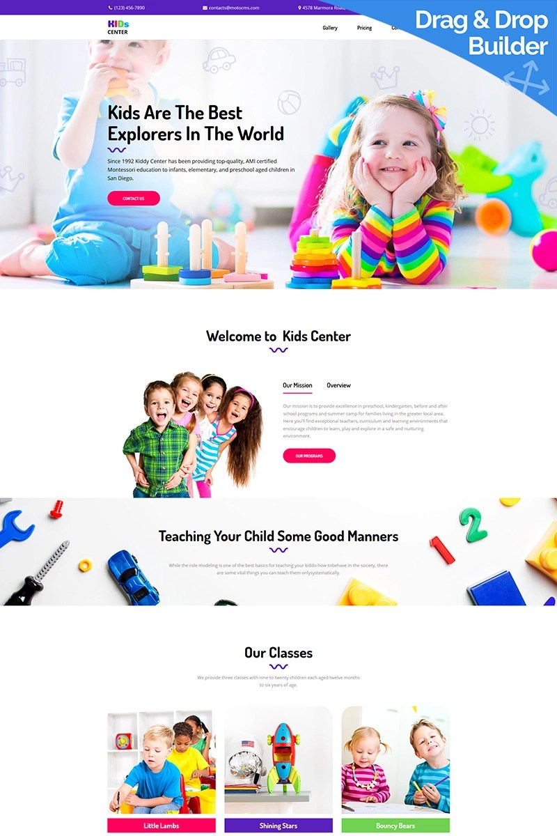 Kids Center Landing Page Template - Preschool, Day Care, Extra Classes