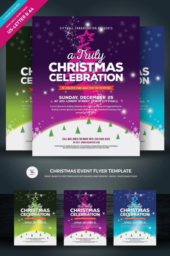 Christmas Celebration Party Flyer Poster - Purple Theme