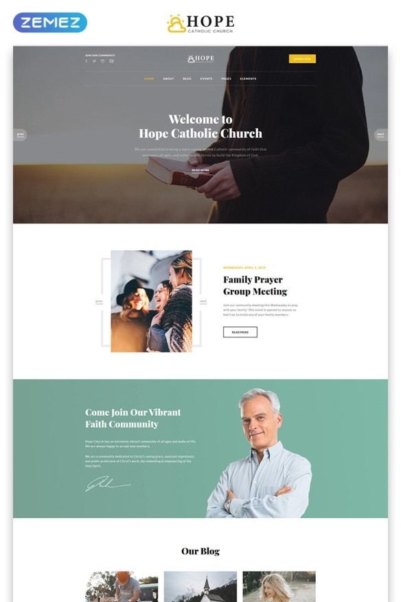 Hope - Catholic Church Multipage Modern HTML Website Template