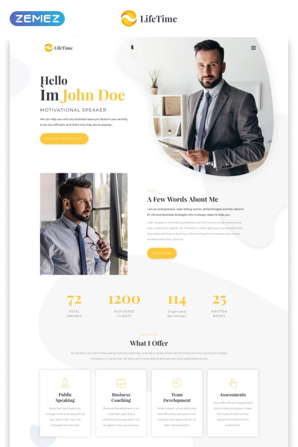 Motivational Speaker Clean Multipage HTML5 Website Template