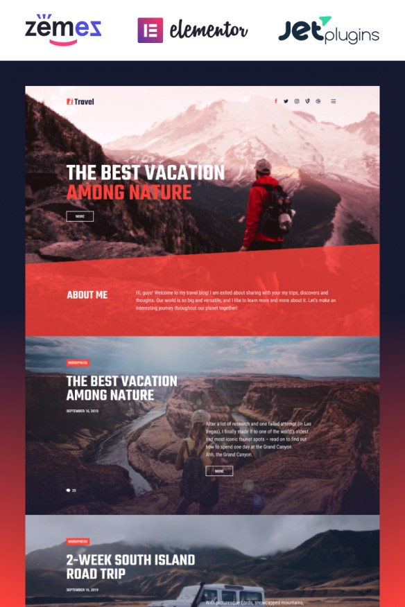 ITravel - Trendy Travel Blog Website Template for Elementor builder WordPress Theme