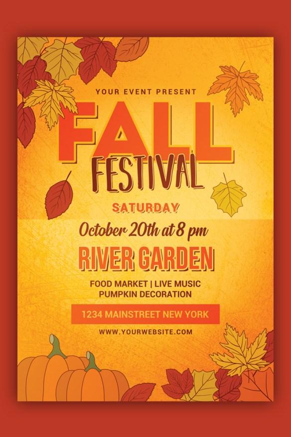 Fall Festival Flyer - Autumn Laves Design Template