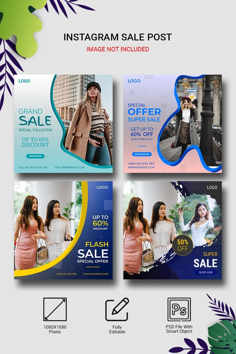 Instagram Sale Post Banners Set Social Media
