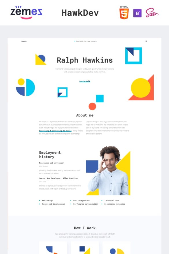 HawkDev - Web Developer Portfolio Website Template