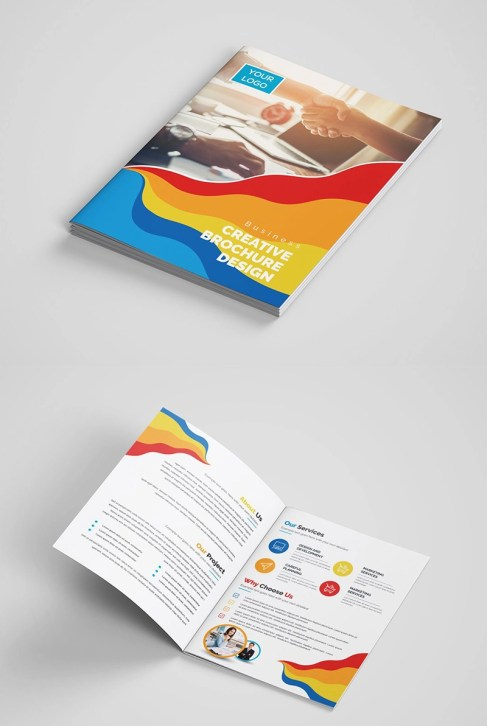 Colorful Brochure Template Design - Vivid Colors, Flowing Lines