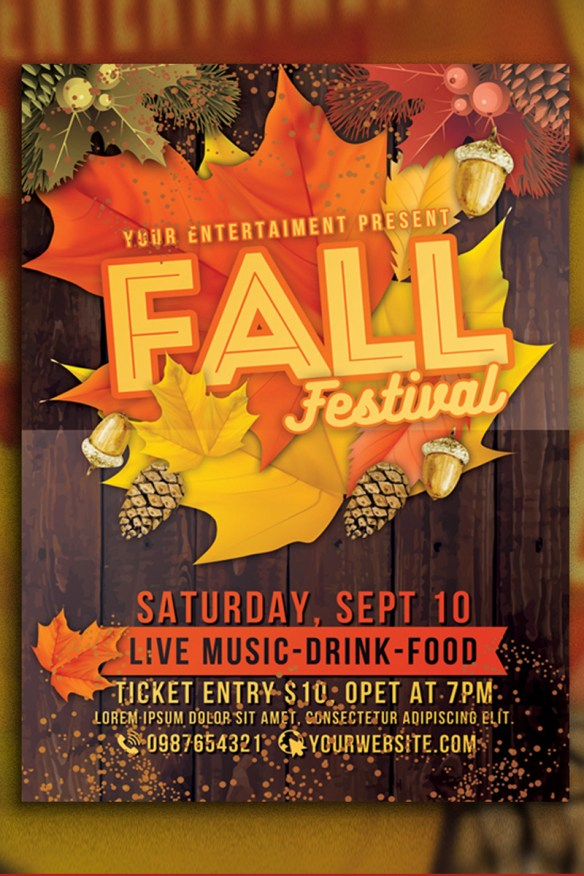 Autumn Leaves Fall Festival Flyer Template