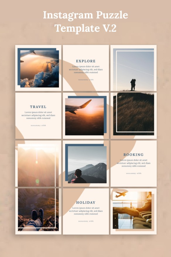 Instagram Puzzle Template Social Media