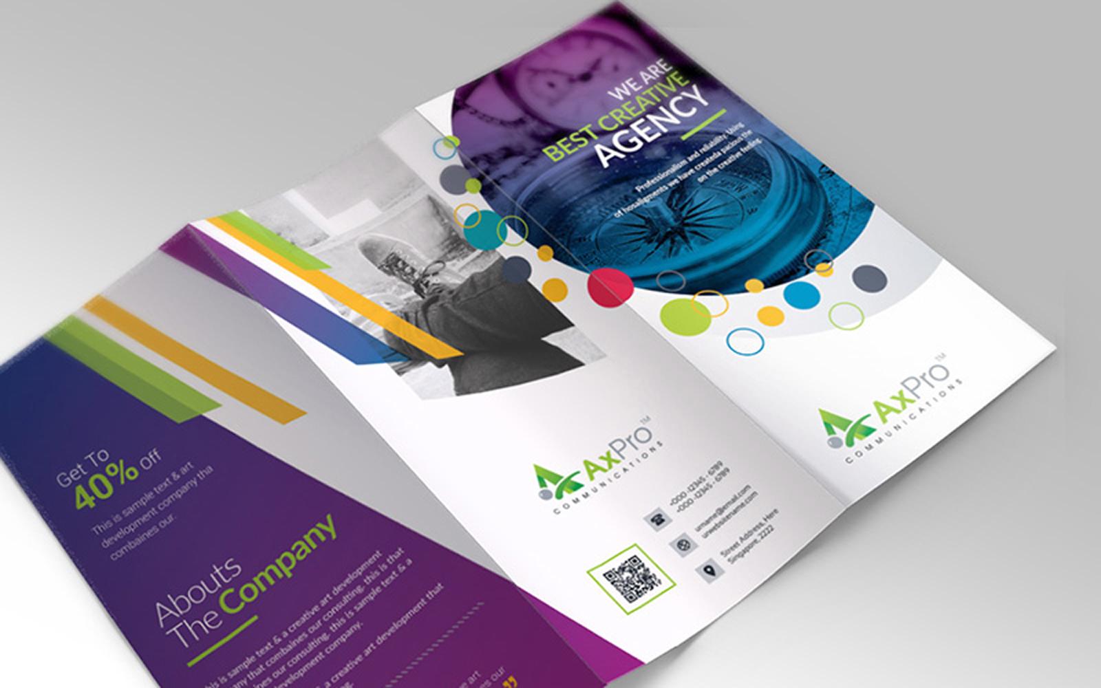 Colorful Circle and Geometric Design Gradient Tri-fold Brochure Design Template