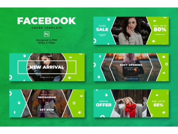 Facebook Cover Template - Trendy Green Theme