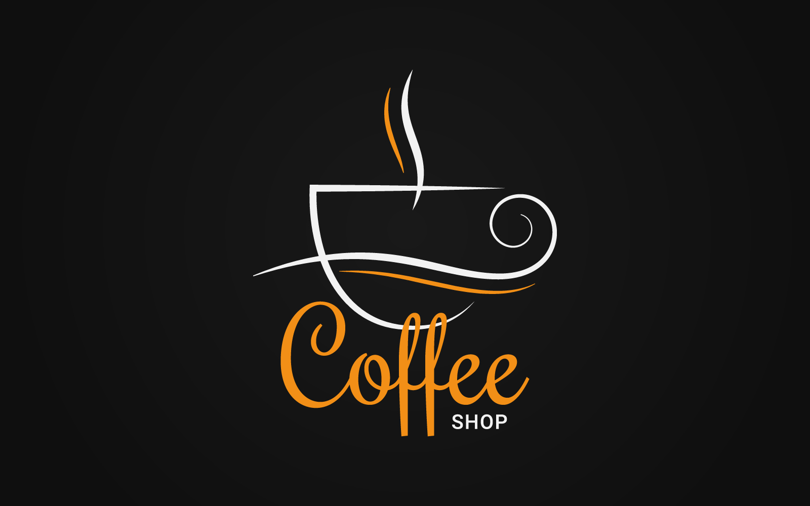 Artistic Coffee Сup Logo on Black Background Logo template