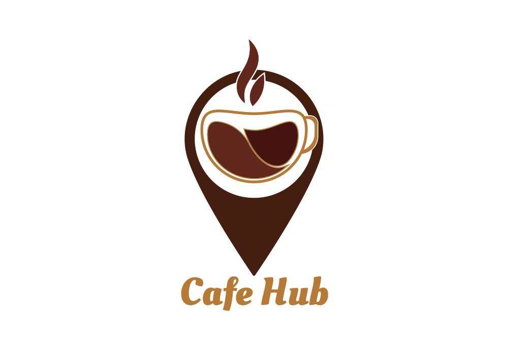 Cafe Hub And Coffee Logo Template