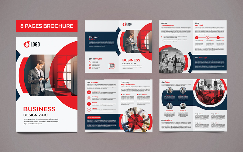 8 Page Creative and Modern Brochure Design Template With Circles - Blue and White Design with Red Overlay Accent