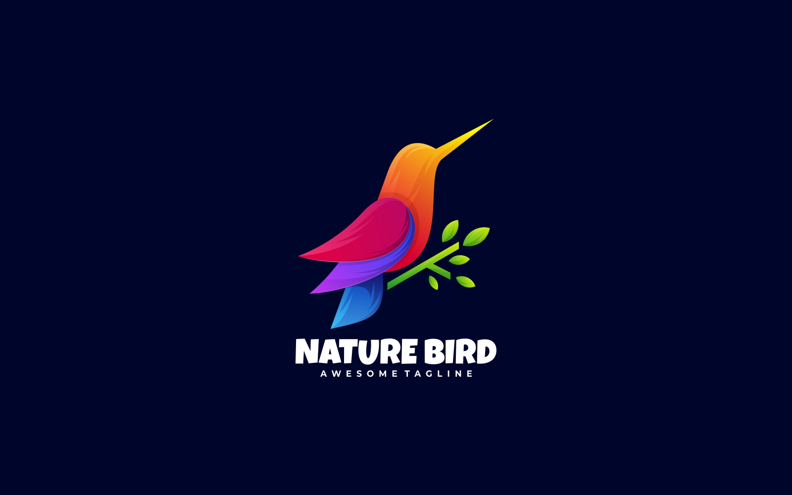 Colorful Bird 3D Gradient Logo