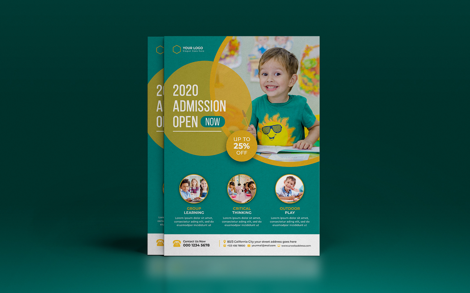 Kids School education Admission Flyer template