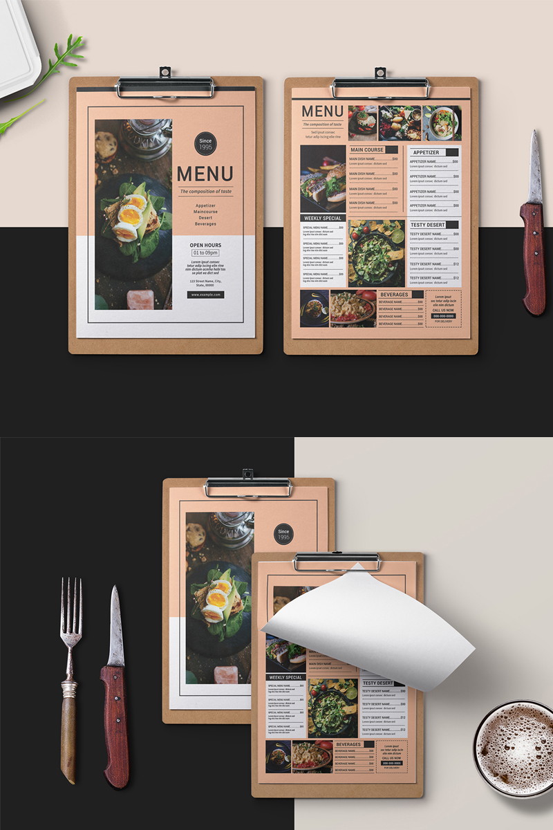 Restaurant Food Menu Flyer Template - Peach and White Color Theme