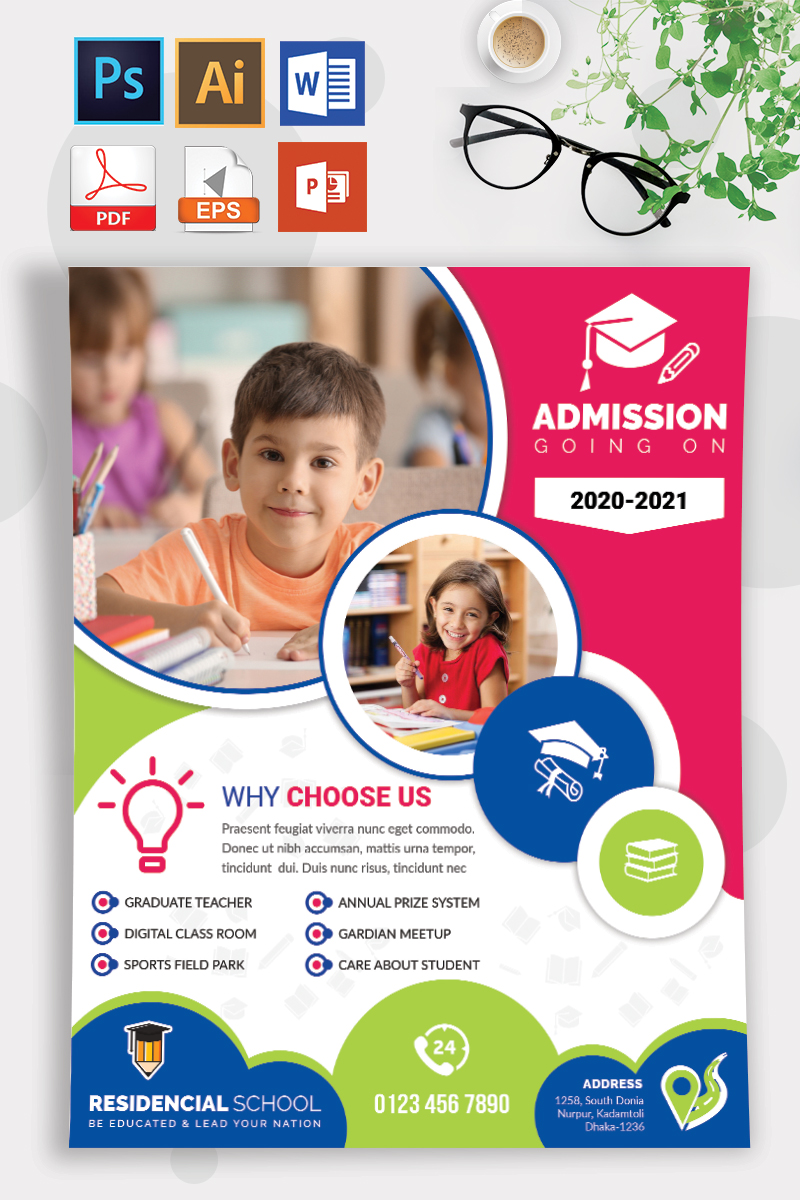 School Admission Flyer Template- Cheerful Pink, Blue and Green Circle Theme