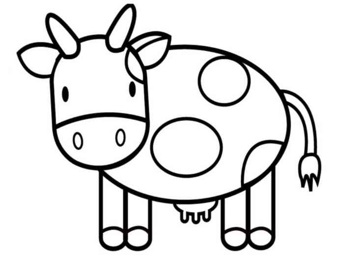 tranh tô màu cho bé 2t con bò