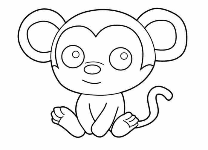 tranh tô màu cho bé 2 tuổi con khỉ