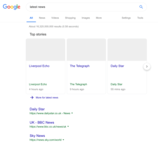 Google search with ancillary copyright