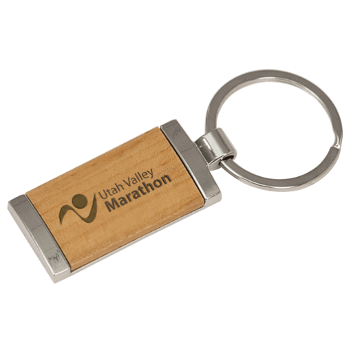 Wood & Silver - Rectangle Keychain