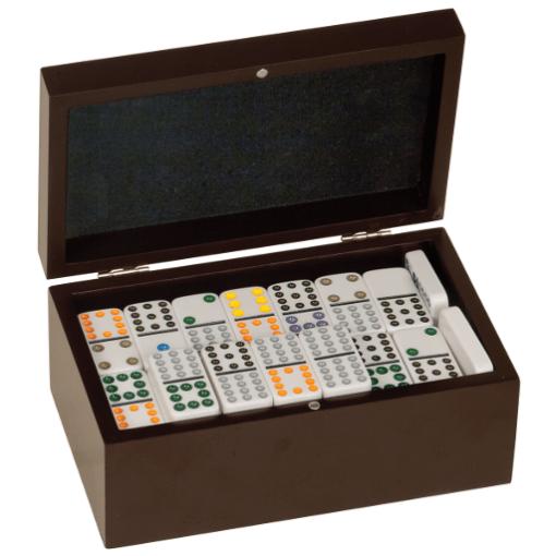 Dominoes Set - Dark Brown Case